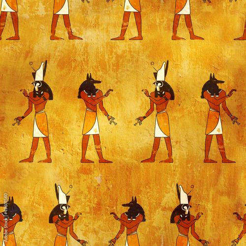 Jednolite tło z obrazami egipskich bogów