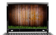 Laptop with wooden wall and grass