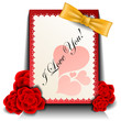 Valentine card with red rose