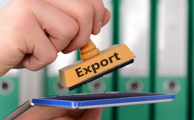 Stempel mit Hand und Schriftzug Export