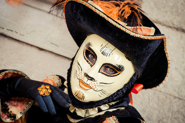 Close up of carnival mask in Venice, Italy