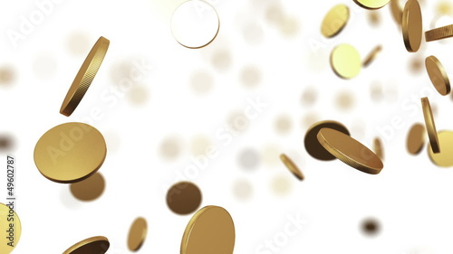 Gold coins rising on white. Beautiful Looped animation