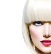 Fashion Stylish Beauty Portrait. Beautiful Girl's Face Close-up