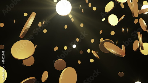 Gold coins flying up on black. Beautiful Looped animation.