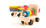 wooden educational toys. colorful train isolated