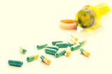 tablets capsules pills yellow green