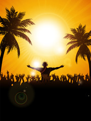 Summer festival with dj and palm trees