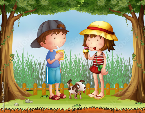Fotobehang Honden A boy with a glass of juice and a girl with an ice cream
