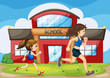 A kid and a woman running in front of the school