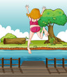A girl jumping at the wooden bridge