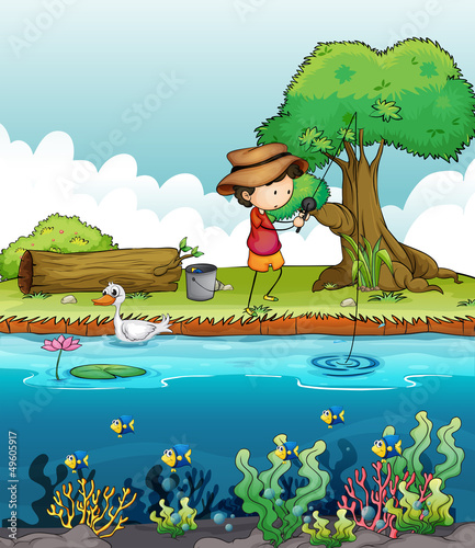 Poster Rivier, meer A boy fishing