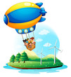 An airship with kids passing over an island