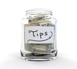 Clear Glass Jar for Tips with Coins and Bills