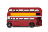 isolated vintage red london bus with copy-space