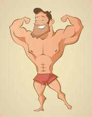Muscular summer beach man
