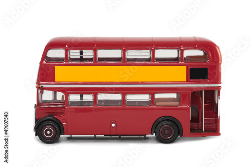 Poster isolated vintage red london bus with copy-space