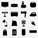 Set of home appliances poster