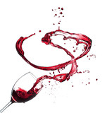 Red wine splashing from glass, isolated on white background - 49609169