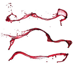 Red wine splashes isolated on white background
