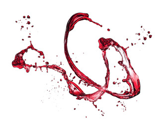 Red wine splash, isolated on white background
