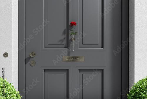 Willkommen Haustür grau mit Rose