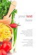 Pasta in bowl and vegetable & text
