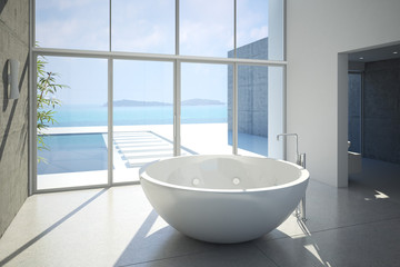 modernes badezimmer mit pool und meerblick