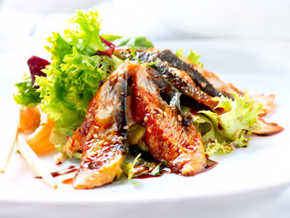Salad With Smoked Eel with Unagi Sauce