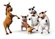 3d rendered illustration of farm animals