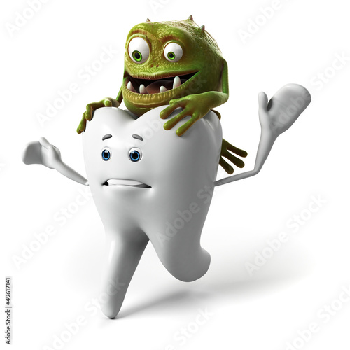 funny tooth and bacteria