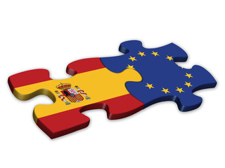 EU & Spanish Flags (Spain EU European politics debt)