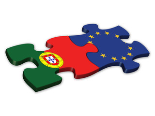 EU & Portuguese Flags (Portugal EU European politics debt)