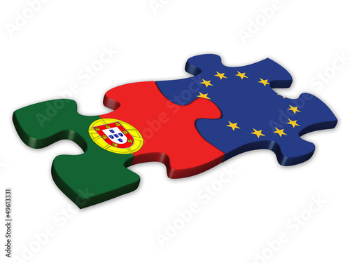 EU & Portuguese Flags (Portugal EU European politics debt)