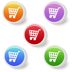 Five colorful shopping cart buttons