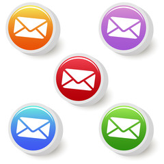 Five colorful mail buttons