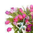 Spring awakening: floral bouquet with tulips and hearts