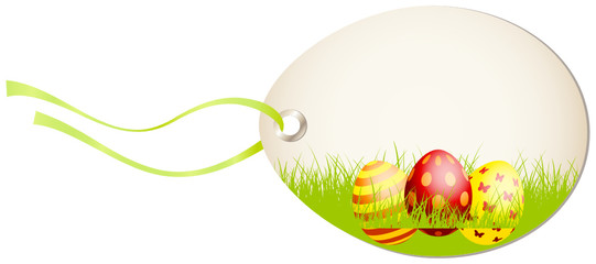 Vertical Hangtag Easter Eggs Green/Red/Yellow