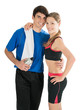 Gorgeous young couple hugging happily after workout