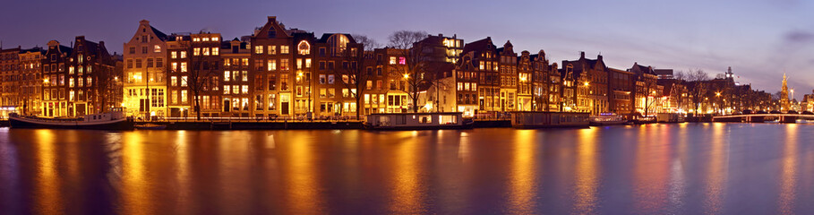 Panorama from Amsterdam with the Munt tower in the Netherlands a