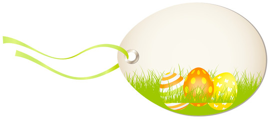 Vertical Hangtag Easter Eggs Orange/Yellow
