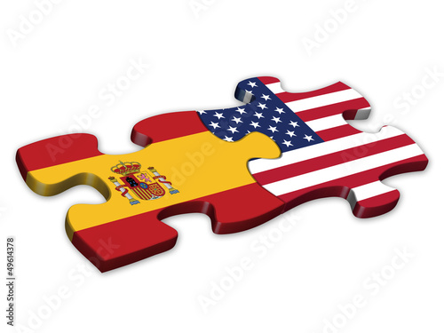 US & Spanish Flags (Spain US English languages translation)