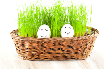 two Funny smiling woman eggs in  basket with grass. sun bath.