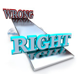 Right vs Wrong - See Saw Balancing Ethical Decisions