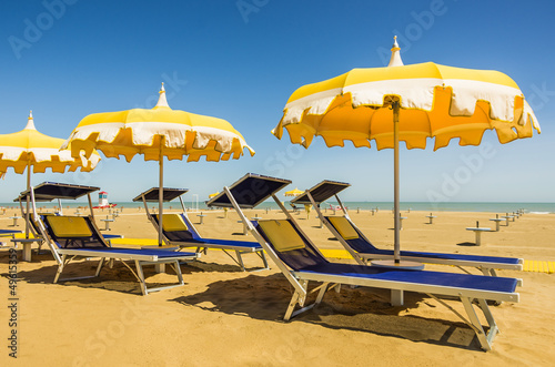 Umbrellas and Sunbeds - Rimini Beach, Italy