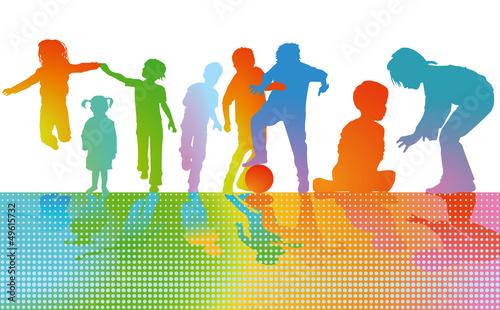 Kinder spielen Farbenfroh