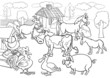 farm animals cartoon for coloring book