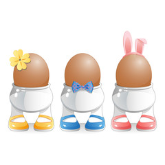 Easter Eggs in novelty egg cups