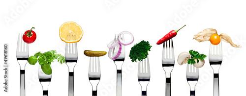 Vegetarian food on forks
