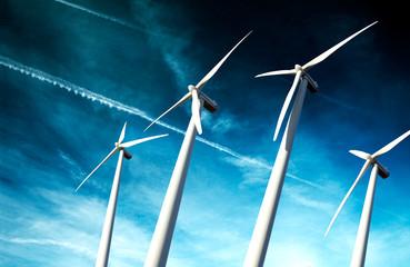 concepto de energia sostenible.Parque eolico y turbinas de aire