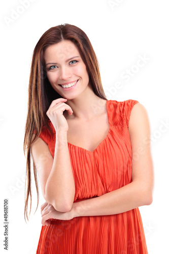 beautiful young woman posing against white background